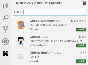 Gitpod button on GitLab project page